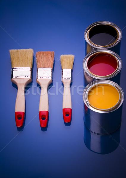 ストックフォト: 塗料 · ブラシ · 明るい · カラフル · ペイントブラシ · 抽象的な