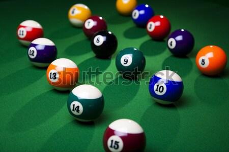 Biljart Blauw tabel sport achtergrond Stockfoto © JanPietruszka
