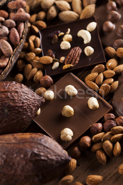 Stock photo: Bars Chocolate , candy sweet, dessert food on wooden background