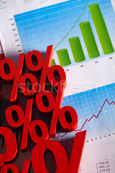 Porcentaje descuento negocios signo rojo banco Foto stock © JanPietruszka