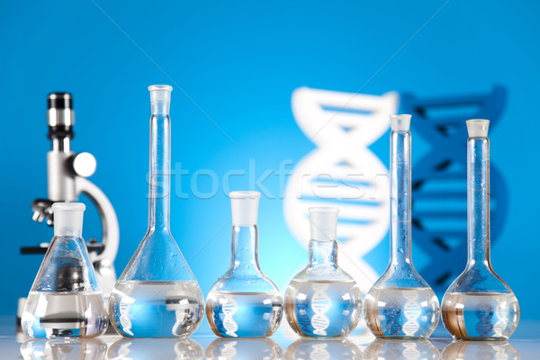 Stock photo: DNA molecules, Chemistry formula background