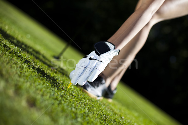 Thumbs up on golf, bright colorful vivid theme Stock photo © JanPietruszka