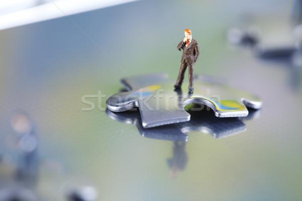 üzlet modern hálózat szimbólumok üzletember puzzle Stock fotó © JanPietruszka