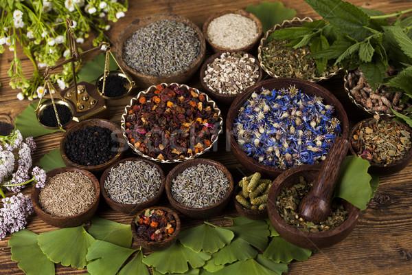 Natural medicine, wooden table background Stock photo © JanPietruszka