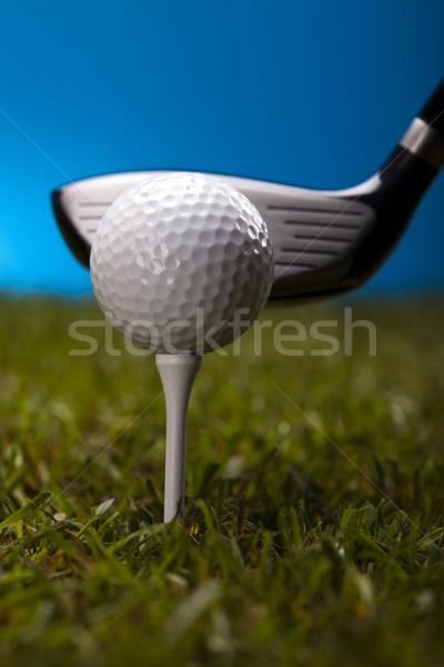 Golf ball on green grass over a blue background  Stock photo © JanPietruszka