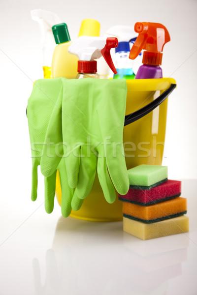 разнообразие чистящие средства работу домой бутылку красный Сток-фото © JanPietruszka