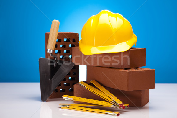 Brick, trowel tool and Construction background Stock photo © JanPietruszka