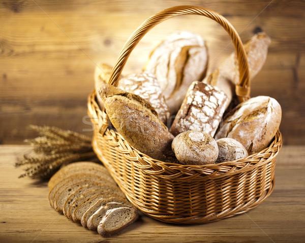 Traditional bread in wicker basket Stock photo © JanPietruszka