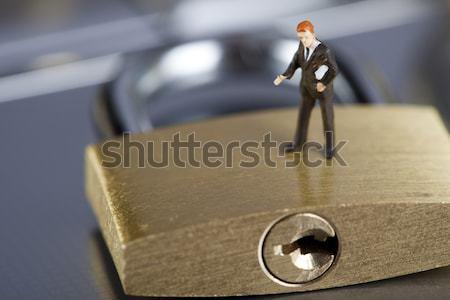 портативного компьютера замок хром цветами бизнеса компьютер Сток-фото © JanPietruszka