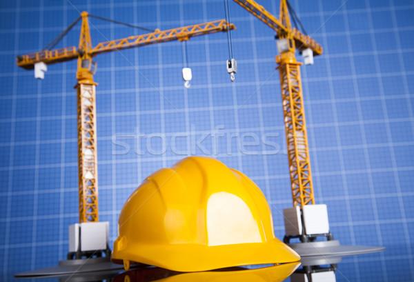 Costruzione piano gru giallo casco edifici Foto d'archivio © JanPietruszka