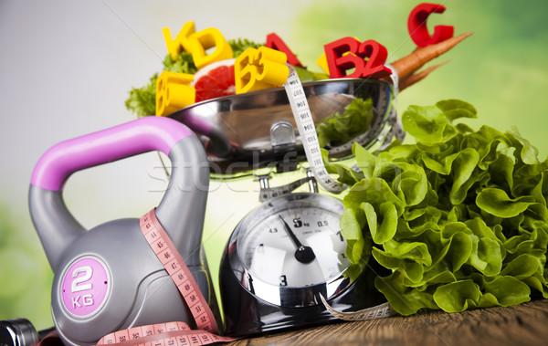 Fitness vitamin concept, fresh fruit and vegetable Stock photo © JanPietruszka