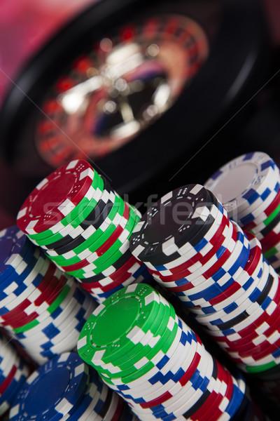 Spelen roulette casino poker chips leuk Stockfoto © JanPietruszka