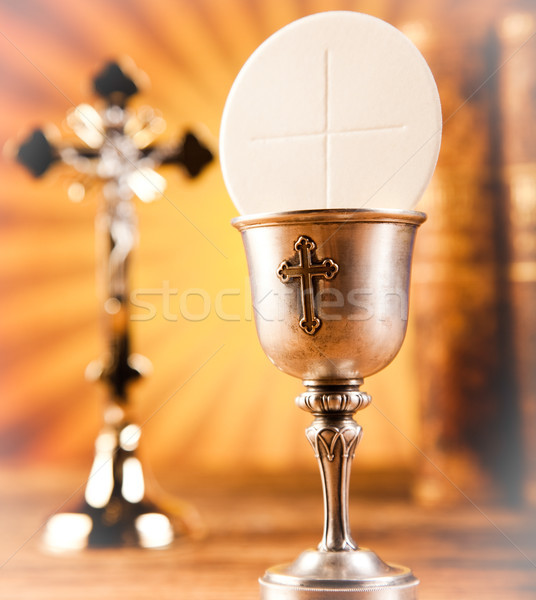 Stock photo: Eucharist, sacrament of communion, bright background, saturated