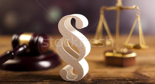 Juge marteau paragraphe signe symbole bois Photo stock © JanPietruszka