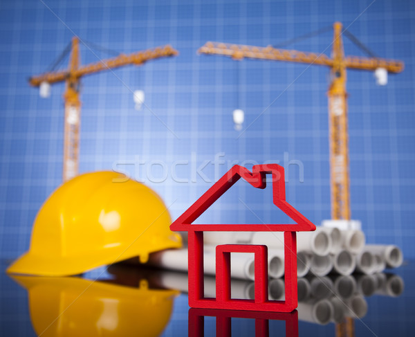 House model with Construction site and crane Stock photo © JanPietruszka