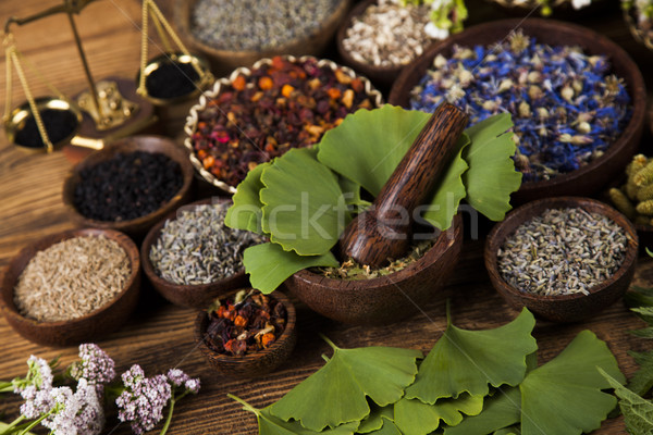 Natural remedy, Ginkgo ande wooden table background Stock photo © JanPietruszka