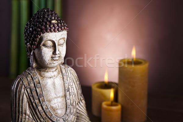 Buddha kaars zon rook ontspannen aanbidden Stockfoto © JanPietruszka