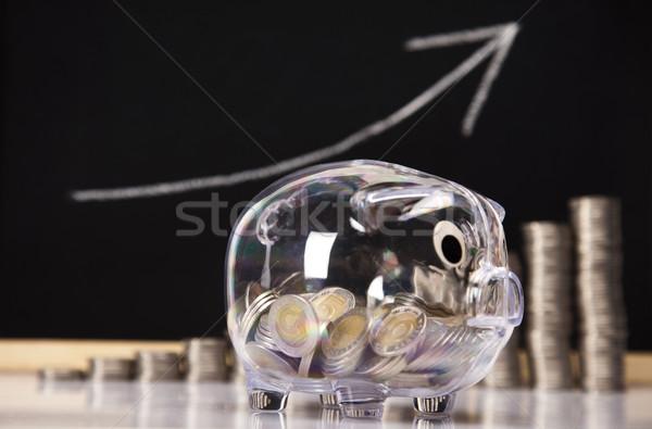 Piggy Bank монетами диаграмма окна Финансы свинья Сток-фото © JanPietruszka