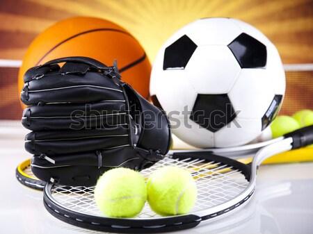 Sportartikelen zonneschijn voetbal sport tennis baseball Stockfoto © JanPietruszka