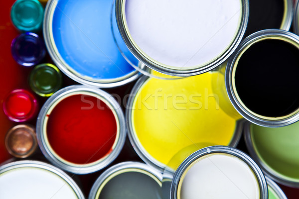Paint and cans, bright colorful tone concept Stock photo © JanPietruszka