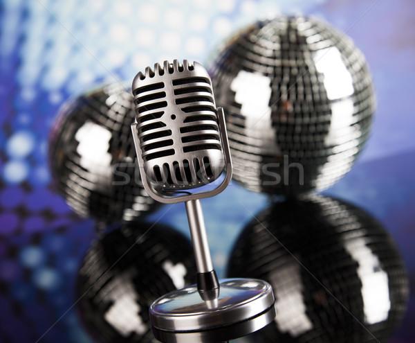 Boule disco micro musique style rétro sonores vagues Photo stock © JanPietruszka