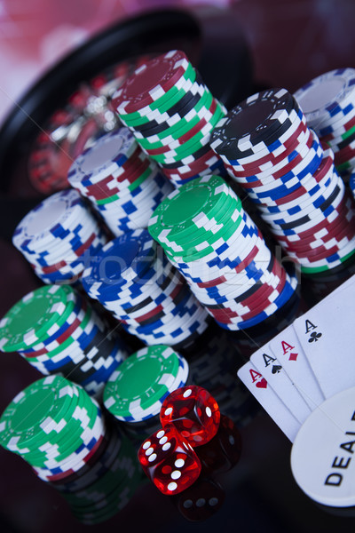 Roulette in casino and Poker Chips Stock photo © JanPietruszka