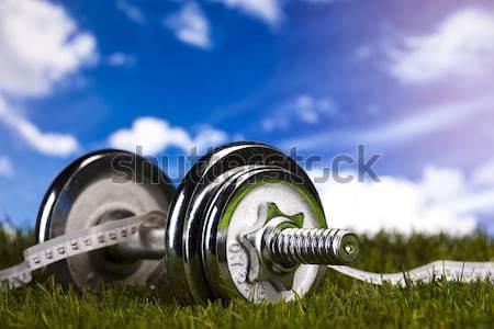 Dumbell and green grass Stock photo © JanPietruszka