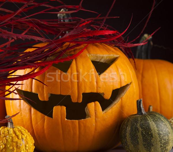 Stock fotó: Vicces · arc · sütőtök · halloween · szemek · háttér · űr