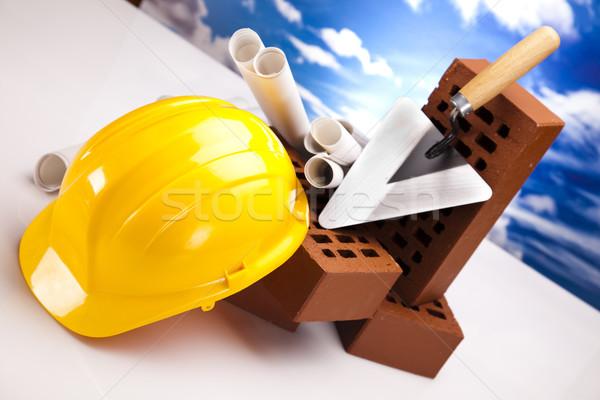 Building background, trowel and bricks Stock photo © JanPietruszka