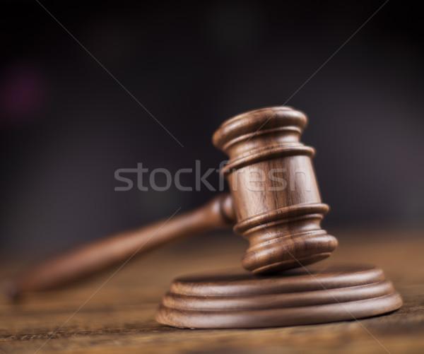 ストックフォト: 法 · 裁判官 · 木製 · 小槌 · 正義 · ハンマー