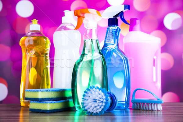 Assorted cleaning products, home work colorful theme Stock photo © JanPietruszka