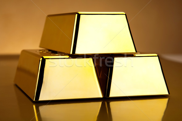Stack of gold bars, ambient financial concept Stock photo © JanPietruszka