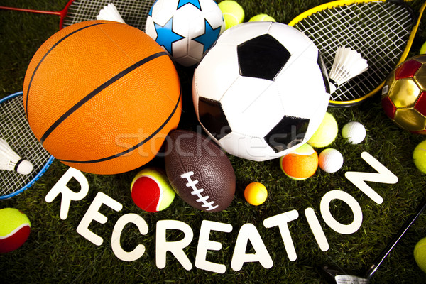 Group of sports equipment, natural colorful tone Stock photo © JanPietruszka