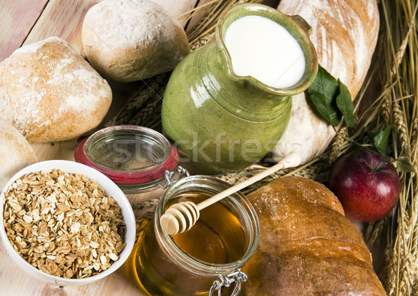Traditional rural food with bread Stock photo © JanPietruszka