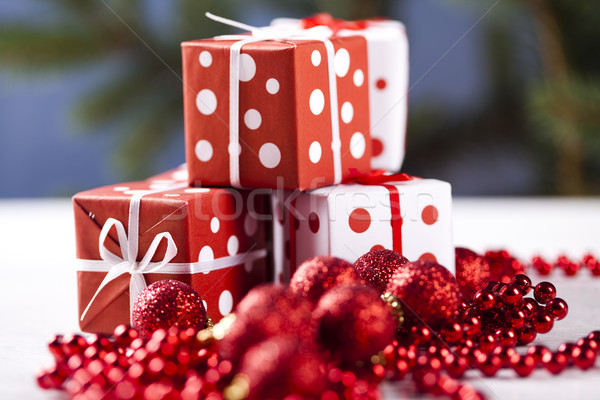 Christmas background with baubles and gift Stock photo © JanPietruszka