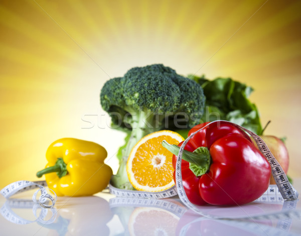 Comida fita métrica fitness pôr do sol sol fruto Foto stock © JanPietruszka