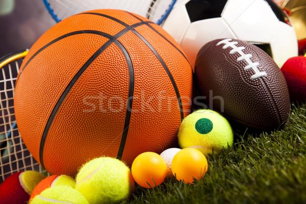 Groep sportartikelen natuurlijke kleurrijk sport voetbal Stockfoto © JanPietruszka