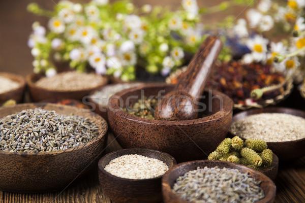 деревянный стол травы природы красоту Сток-фото © JanPietruszka