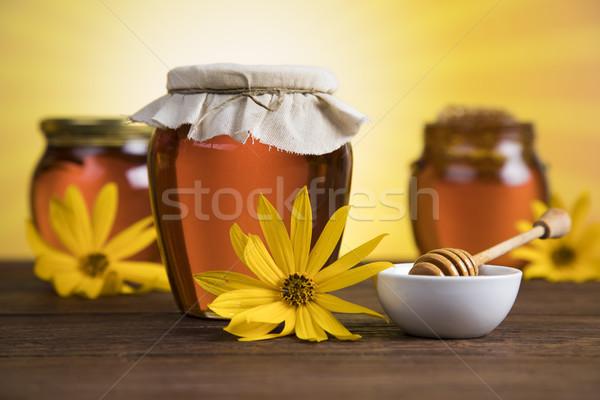 Mel jarra flor doce fundo montanha Foto stock © JanPietruszka