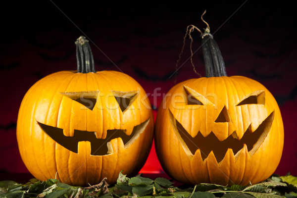 Funny face pumpkin, Halloween Stock photo © JanPietruszka
