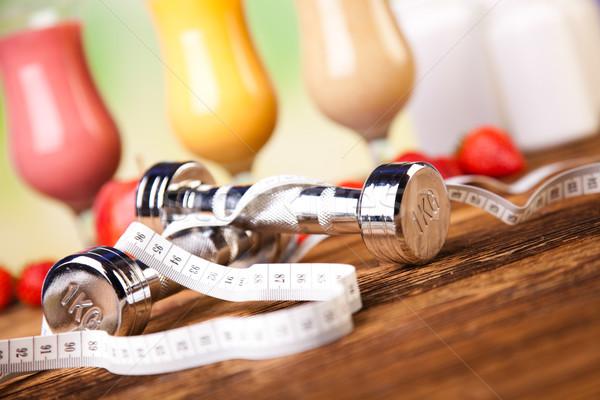 Sport tej egészséges friss fitnessz gyümölcs Stock fotó © JanPietruszka