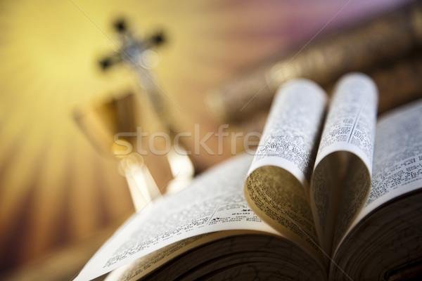 Stock fotó: Szentség · úrvacsora · fényes · kereszt · Jézus · templom