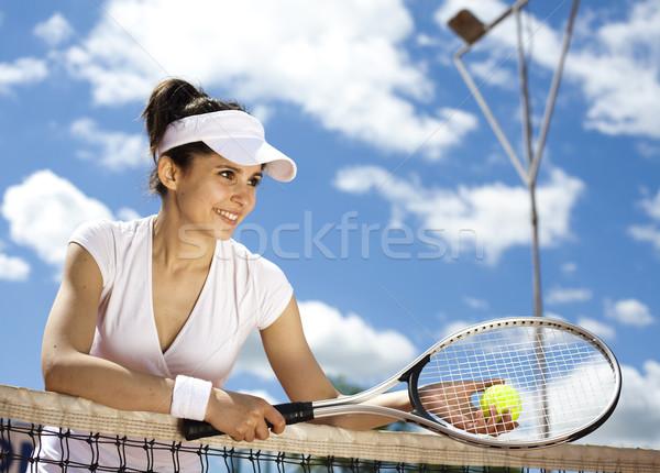 Woman playing tennis, natural colorful tone Stock photo © JanPietruszka