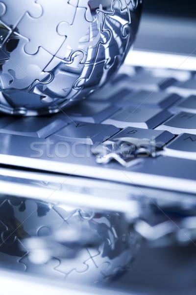 Laptop modern hálózat szimbólumok üzlet iroda Stock fotó © JanPietruszka