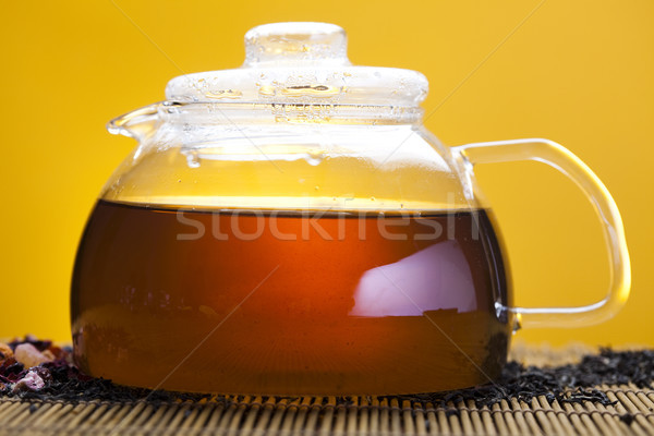 Glas theepot thee citroen bloem geneeskunde Stockfoto © JanPietruszka