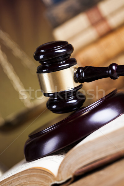 Law theme, mallet of the judge, wooden desk background Stock photo © JanPietruszka
