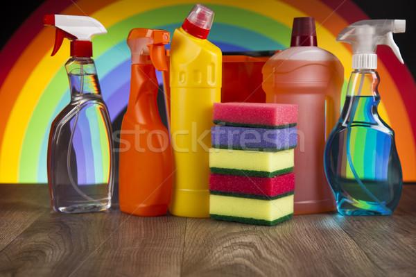 Schoonmaken uitrusting variëteit reinigingsproducten werk home Stockfoto © JanPietruszka