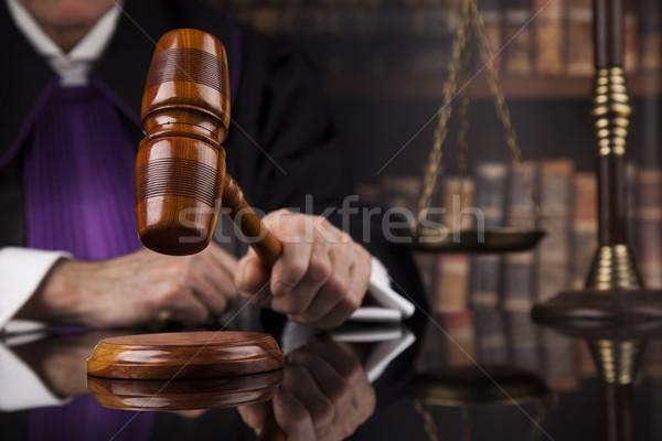 Gerechtigkeit Recht männlich Richter Gerichtssaal Buch Stock foto © JanPietruszka