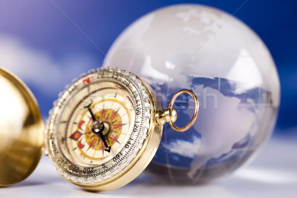 Nawigacja kompas świecie morza ziemi podróży Zdjęcia stock © JanPietruszka
