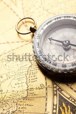 Kompas oude kaart papier kaart Stockfoto © JanPietruszka